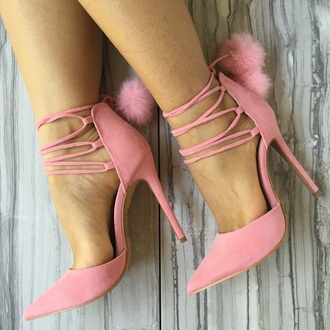 shoes pink pink heels pumps pink pumps furry heels