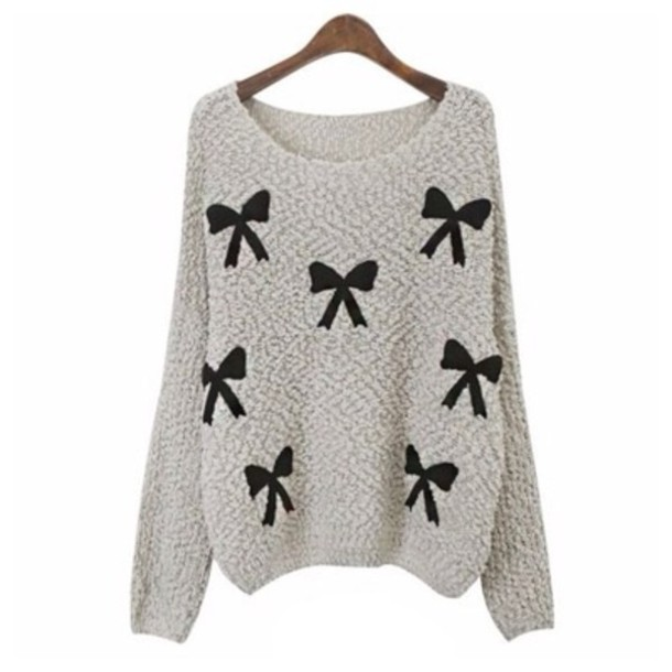 sweater bow sweater knitted sweater cute sweaters