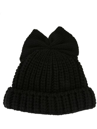 bow beanie black hat
