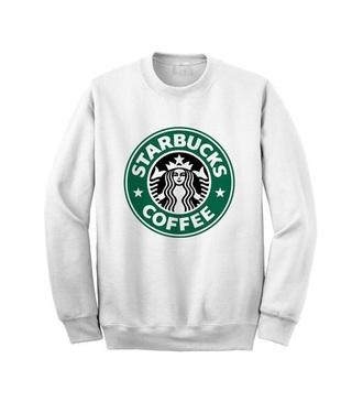 sweater green starbucks coffee starbucks coffee logo white white sweater