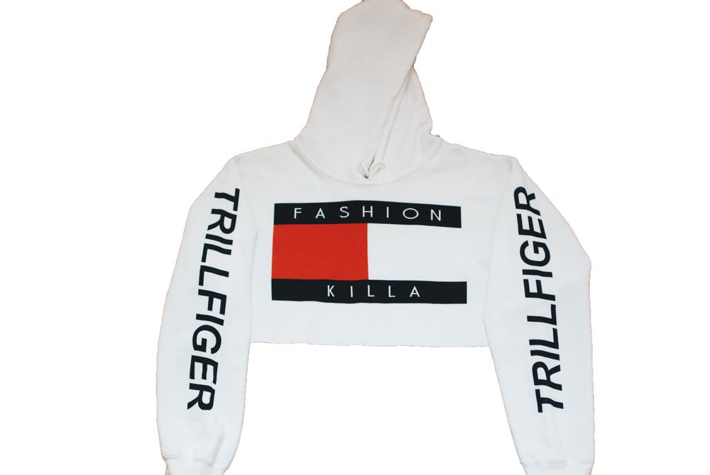 Soto militia — fashion killa x trillfiger crop hoodie (white)