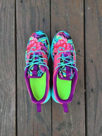 shoes nike running shoes roshes nike roshe runs nike shoes floral pink purple blue