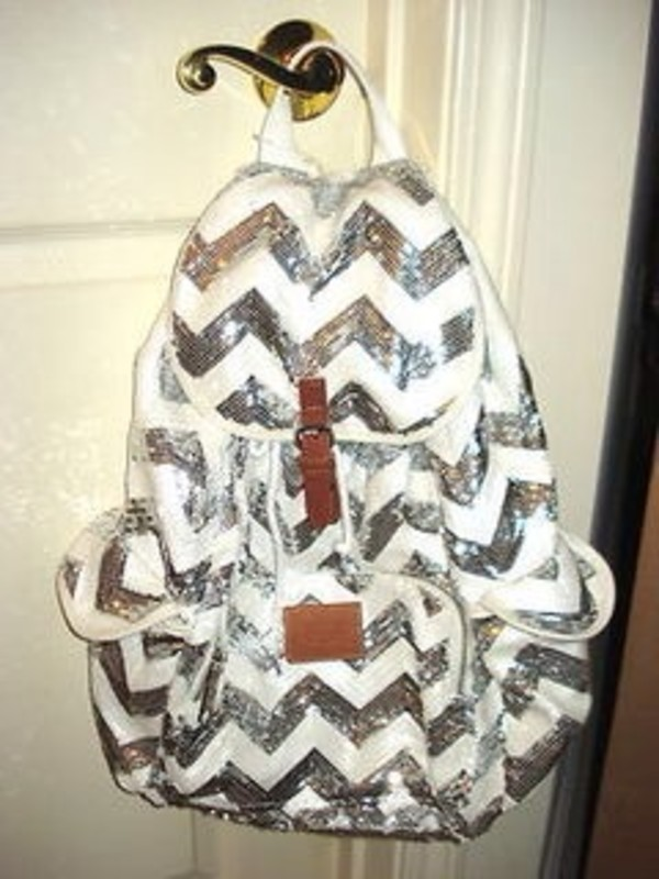 bag victoria's secret pink backpack chevron sequins white and silver blouse