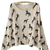 Beige Scoop Neck Batwing Long Sleeve Horse Print Jumper - Sheinside.com