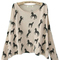 Beige scoop neck batwing long sleeve horse print jumper - sheinside.com
