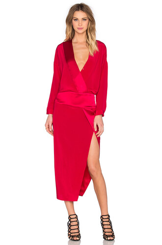 dress wrap dress long red