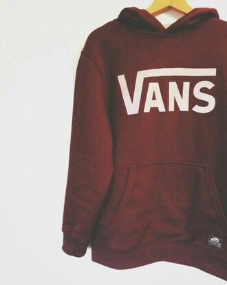 sweater hoodie vans cute burgundy name brand lovely red red and white sweatshirt hooded