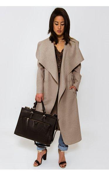 Khloe waterfall coat in mocha