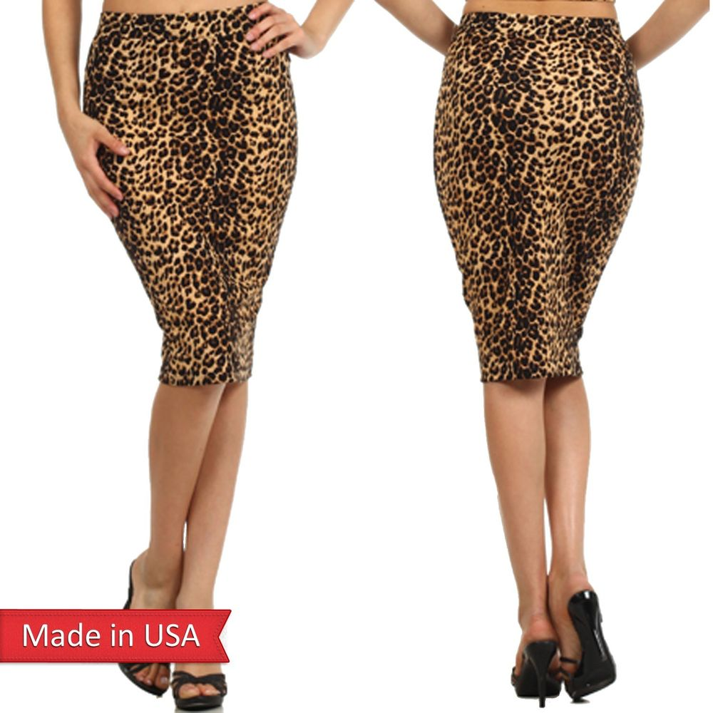 New Women Animal Print Brown Leopard Popcorn Fabric High Waist Pencil Skirt USA