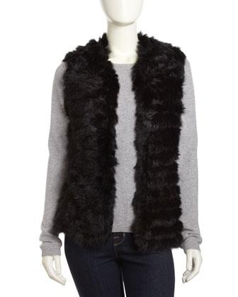 Neiman Marcus Rabbit Knit Vest, Black - Neiman Marcus Last Call