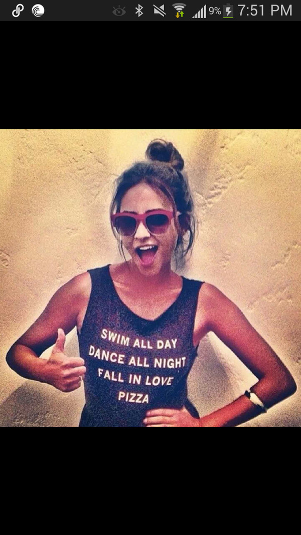 shirt shay mitchell pizza swimming dancing food