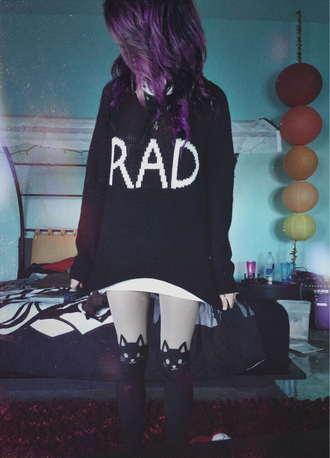 tights sweater jacket blouse cute black winter sweater cat sweater purple hair rad rad hair day black sweater cute shirt cute tights scene plum tumblr grunge white pixel leggings cats nu goth socks long sweatshirt shirt dress alternative knee high socks