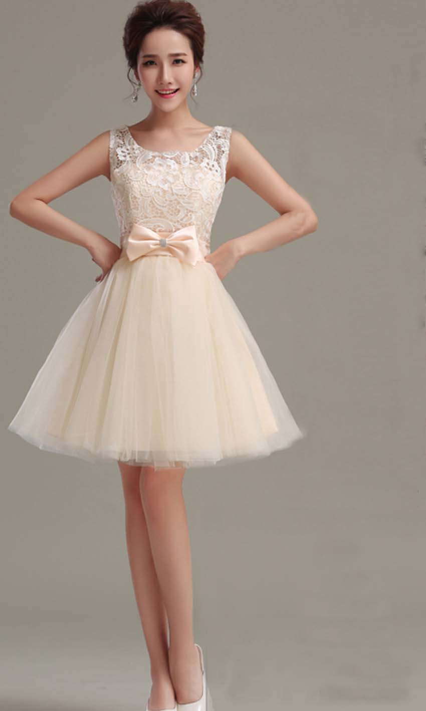 Cute beige retro bow knot short prom gown ksp348 ksp348 for Beige short wedding dresses