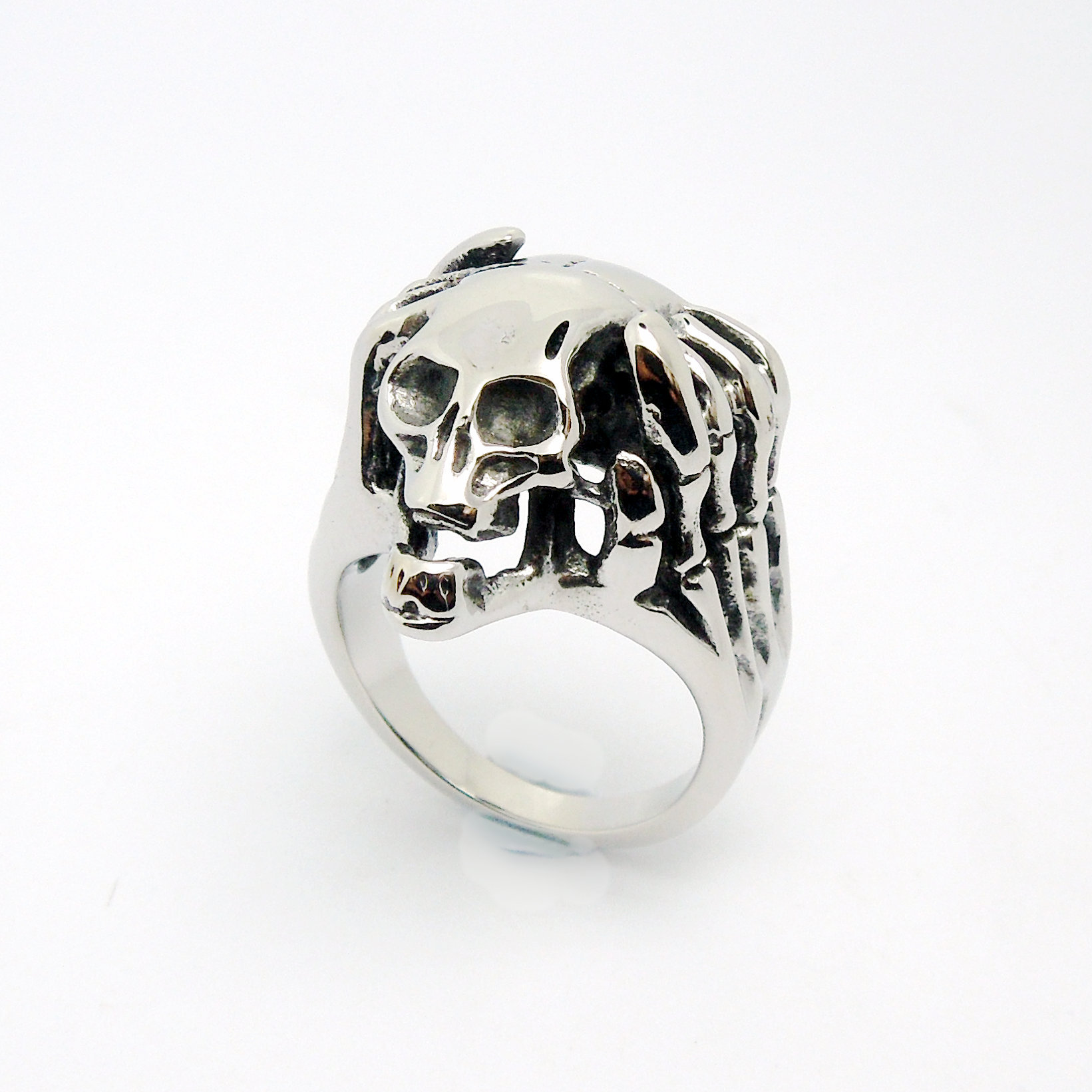 Titanium Steel Skull Men And Women Punk Retro Single Ring - Wishbop.com