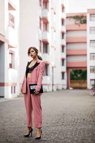 pants top blazer tumblr pink pants cropped pants matching set power suit two piece pantsuits pumps crop tops bag