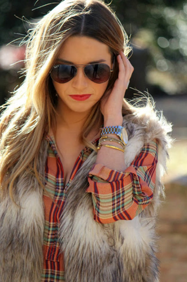shirt top vest fur vest fur cardigan printed fur vest