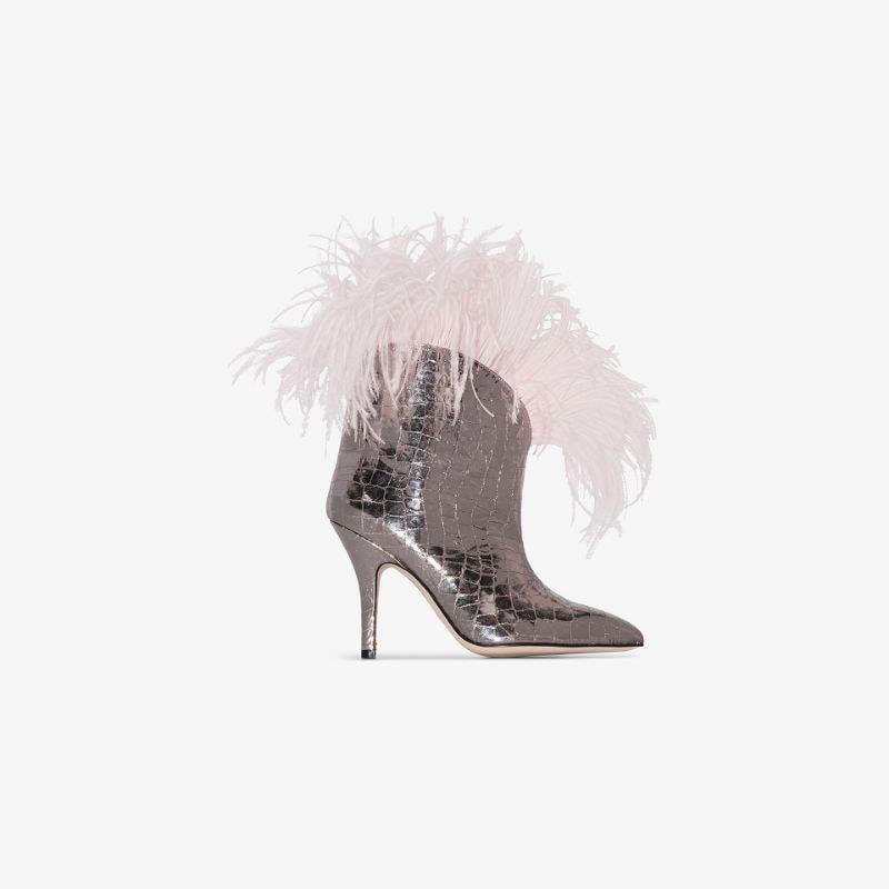 Paris Texas Silver 90 mock croc feather trim boots