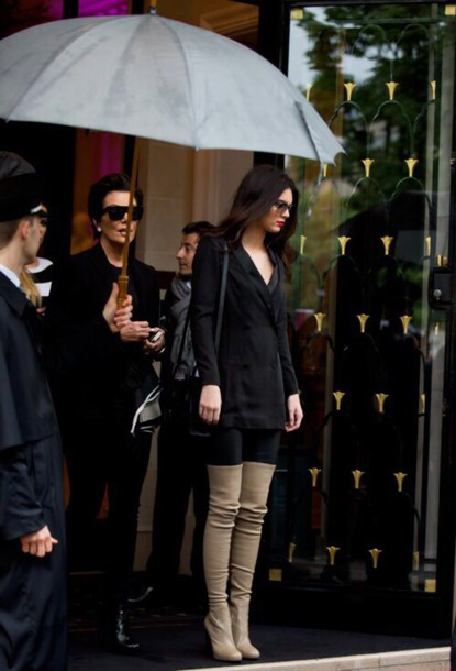 shoes boots thigh highs beige kendall jenner high knee boots suede boots dress winter outfits winter boots