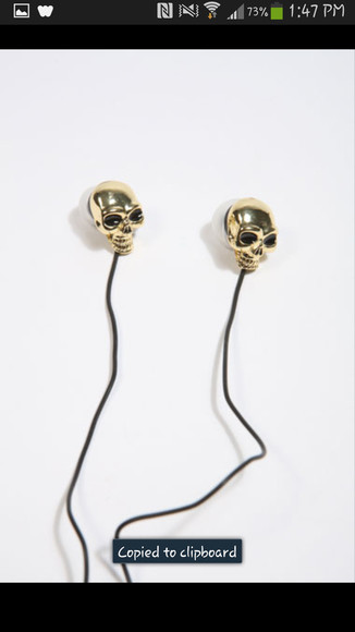jewels headphones skull gold soft grunge street goth