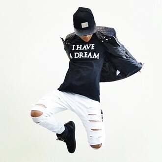 t-shirt maniere de voir top i have a dream black logo graphic tee quote on it urban menswear urban