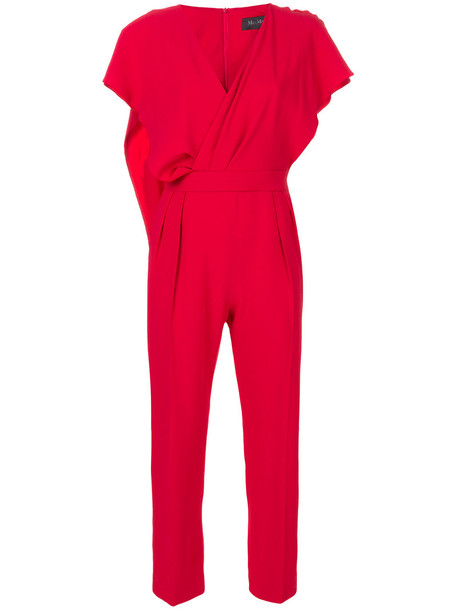 Max Mara jumpsuit women silk red