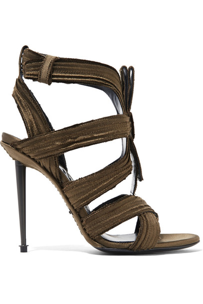 Tom Ford pleated sandals satin green army green shoes