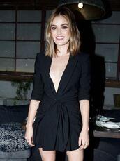 dress,black dress,little black dress,lucy hale,celebrity,black blazer,blazer dress