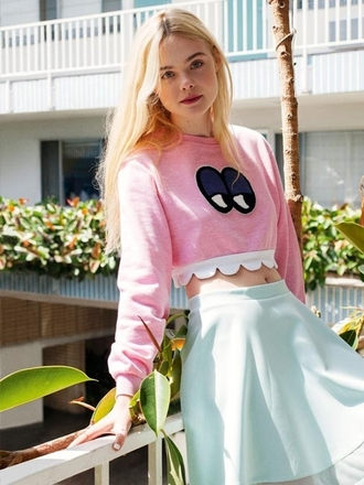 top monster pink skirt summer skater skirt girly girl blonde hair