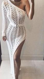 dress,girl,girly,girly wishlist,white,white dress,long,long dress,maxi dress,maxi,one shoulder,crochet,slit dress,slit,crochet dress,long sleeves