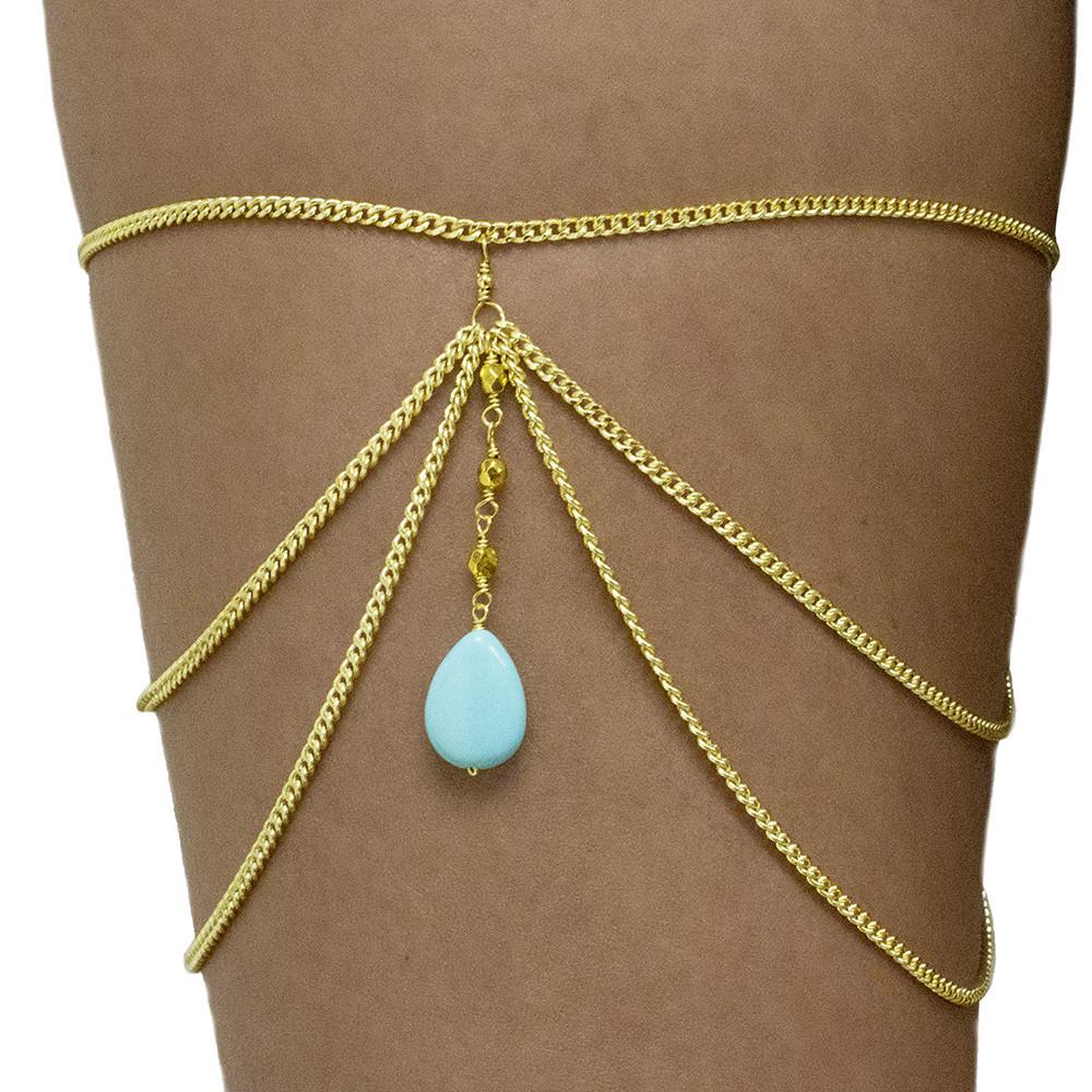 Turquoise Bohem Leg Chain