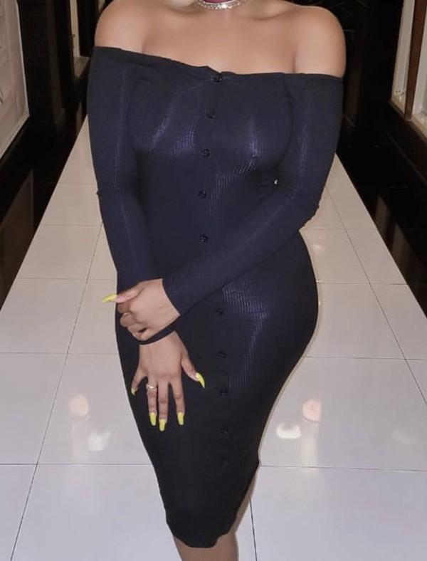 dress black black dress button up bodycon straight off the shoulder plain black