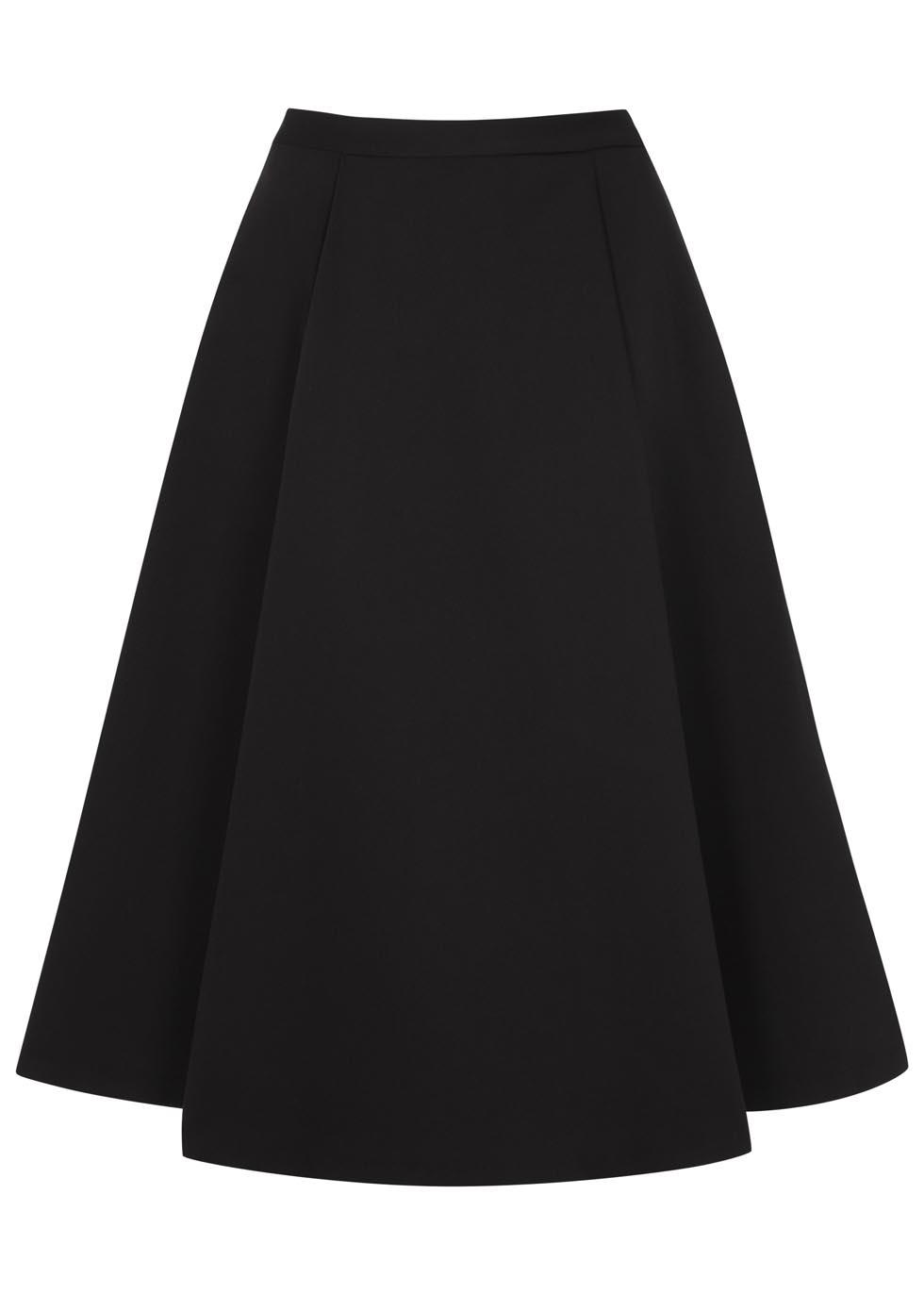 Alice   olivia black cotton blend midi skirt