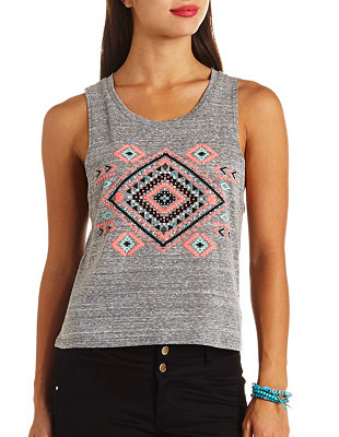 Embellished aztec graphic muscle tee: charlotte russe
