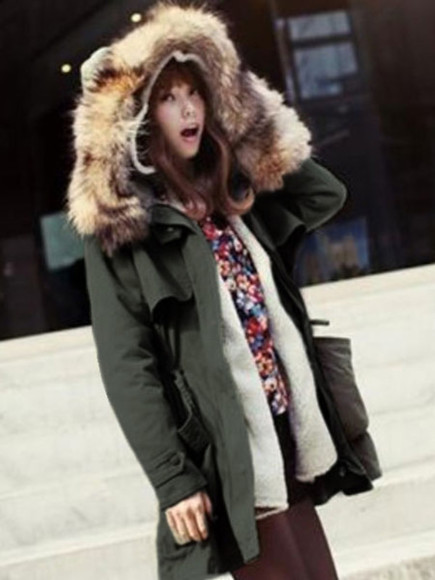 coat faux fur army green hooded cotton banggood