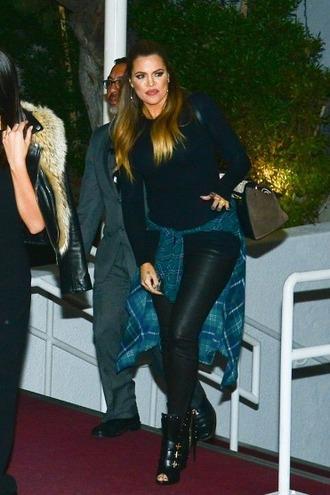 shirt flannel khloe kardashian leather pants