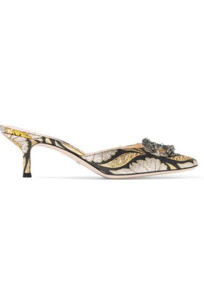 gucci jacquard embellished mules black shoes