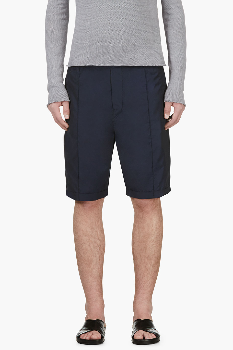 costume national navy nylon shorts
