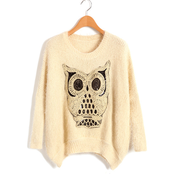Beige fluffy sweater with sequin owl detail