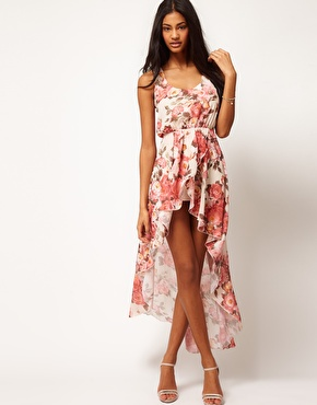 Love | Love Chiffon Vintage Rose Wrap Hi Lo Dress at ASOS