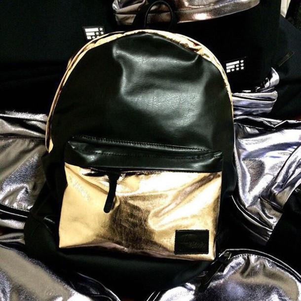 ab4ff1cf14 bag backpack rucksack gold gold gold backpack black and gold black and gold  backpack womens backpack