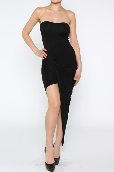 dress strapless dress bodycon asymmetrical little black dress