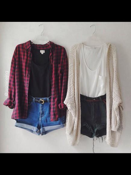 shirt blouse t-shirt cardigan checkered checked shirt cute girly