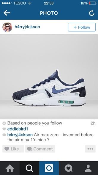 shoes nike air max zero blue white trainers