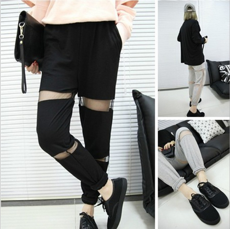 2014 spring new European and American fashion design perspective openwork stitching mesh sport casual pants women-in Pants & Capris from Apparel & Accessories on Aliexpress.com