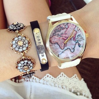jewels gold world clock wristwatch watch gold