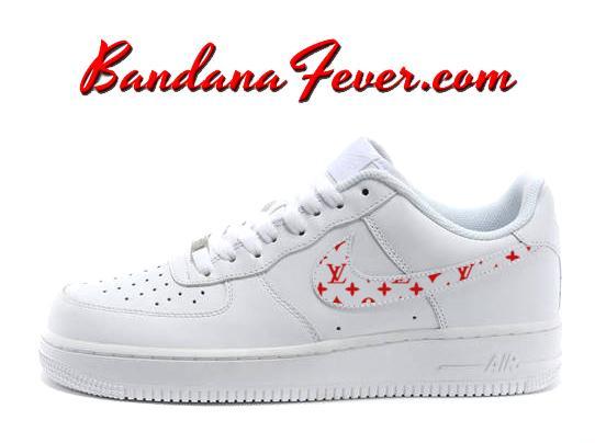 Custom Supreme Red Monogram Nike Air Force 1 Shoes White Low