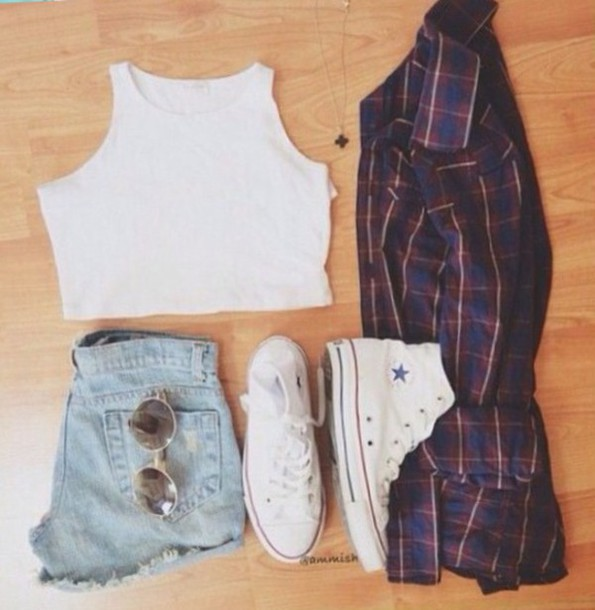 shorts crop tops plaid skirt