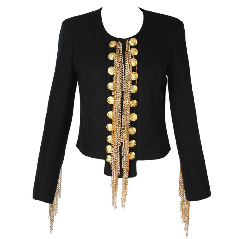 New Women Woolen Military Jacket Balmain Shoulder Metal Chain Handmade Jacket | eBay