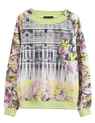sweater brenda-shop sweatshirt pullover blooming blossom floral pattern