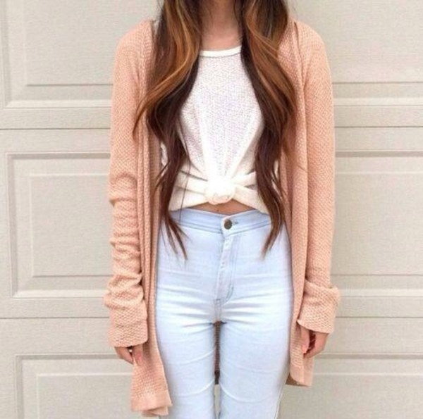peach tie-front top light blue jeans high waisted jeans skinny jeans long cardigan cardigan white t-shirt